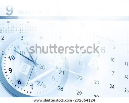 Clocks and calendars, copy space - stock photo