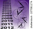 Clocks and years to indicate time passing black on lavender background - stock photo