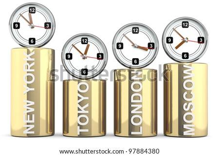Clocks of important capitals. Stocks concept - stock photo
