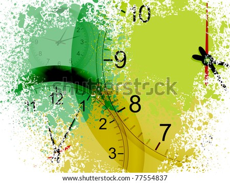 clocks showing different times on a grunge background