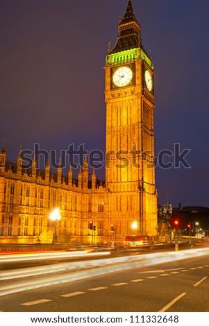 Clocktower Big Ben in London - stock photo
