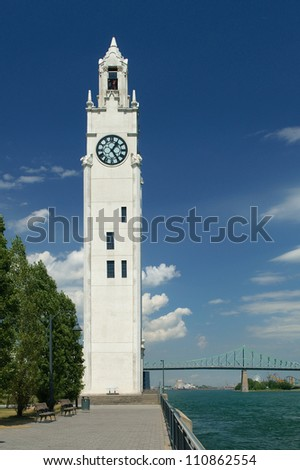 Clocktower in Montreal's old port - stock photo