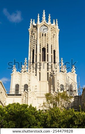 Clocktower of the Auckland University - Old Arts Building was founded in 1926. This university is the largest one in New Zealand - stock photo