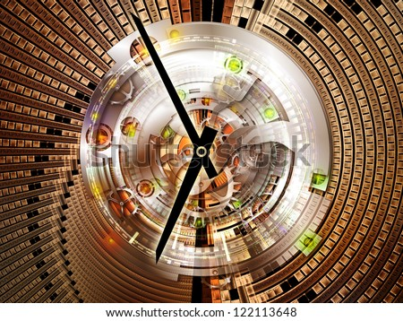 Clockwork Background. Backdrop of  clock gears, numbers and fractal elements to complement your design on the subject of time, modernity, science and technology - stock photo