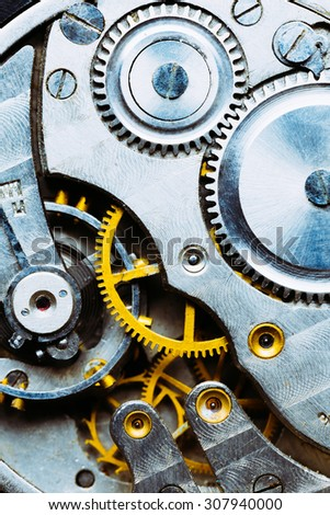 Clockwork Background. Close-up Of Old Clock Watch Mechanism With Gears - stock photo