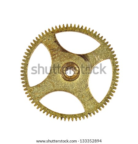 Clockwork brass pinion macro closeup isolated on white background