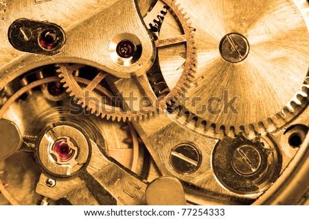 Clockwork of wristwatch super close up - stock photo