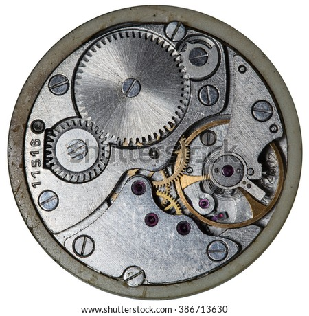 clockwork old mechanical USSR watch - stock photo