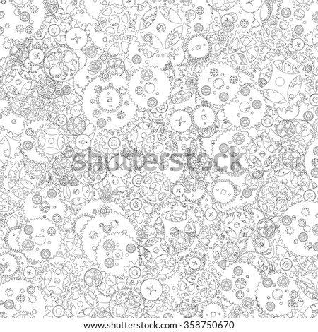 Clockwork pattern lineart / Cogs and clockwork parts lineart pattern - stock photo