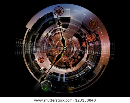 Clockwork Series. Abstract design made of clock gears, numbers and fractal elements on the subject of time, modernity, science and technology - stock photo