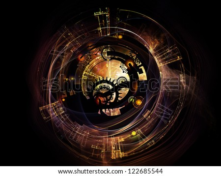 Clockwork Series. Backdrop of clock gears, numbers and fractal elements on the subject of time, modernity, science and technology