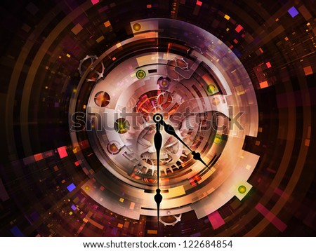 Clockwork Series. Composition of clock gears, numbers and fractal elements on the subject of time, modernity, science and technology - stock photo