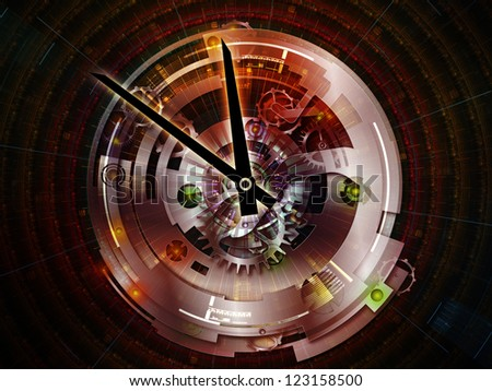Clockwork Series. Creative arrangement of clock gears, numbers and fractal elements as a concept metaphor on subject of time, modernity, science and technology - stock photo