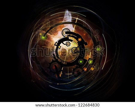 Clockwork Series. Design made of clock gears, numbers and fractal elements to serve as backdrop for projects related to time, modernity, science and technology - stock photo