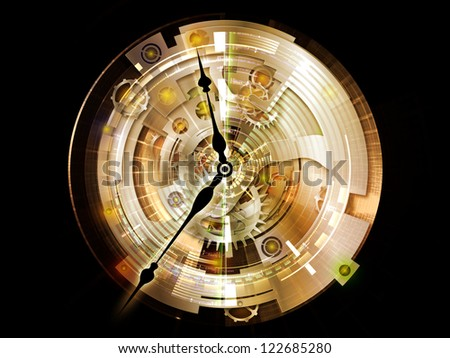 Clockwork Series. Interplay of clock gears, numbers and fractal elements on the subject of time, modernity, science and technology - stock photo