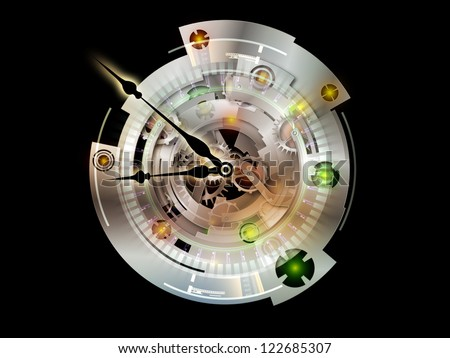Clockwork Series. Visually pleasing composition of clock gears, numbers and fractal elements to serve as  background in works on time, modernity, science and technology