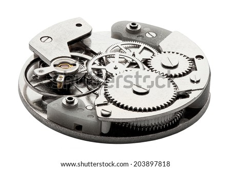 Clockwork with gears and cogwheels isolated on white background - stock photo