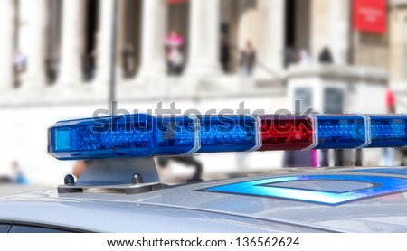cloe up view of police roof lights - stock photo