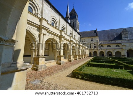Cloister and cloistered garden in an abbey.  - stock photo