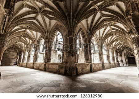 Cloister arch perspective of Cahors Cathedral in France - stock photo
