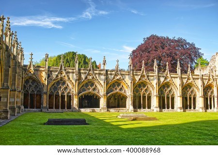Cloister Garden in Canterbury Cathedral in Canterbury in Kent of England. It is one of the most famous cathedrals in England. It is the Archbishop of Canterbury Cathedral. - stock photo