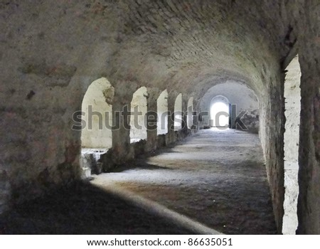 Cloister in an ancient abbey - stock photo