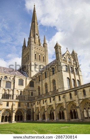 Cloister of Norwich Cathedral Church of the Holy and Undivided Trinity, Norfolk, England. - stock photo