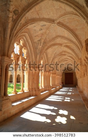 Cloister of the Royal Abbey of Santa Maria de Poblet (Poblet Monastery) in Catalonia, Spain