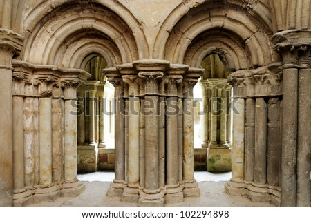 Cloister of the Santa Mari�­a la Real Monastery in Aguilar de Campoo, Spain. The monastery dates from the XI century and after being nearly destroyed was completely restored in the XX century.