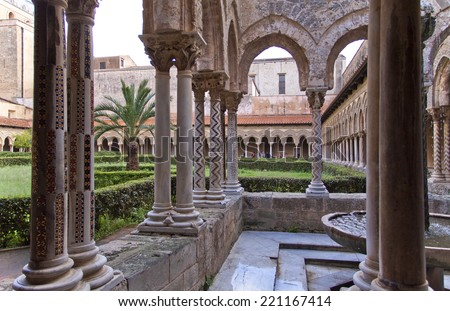 Cloisters, Monreale cathedral, Palermo, Sicily, Italy