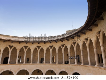 Cloisters of Bellver castle in Palma de Mallorca, Balearic islands, Spain - stock photo