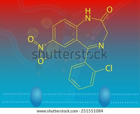 Clonazepam molecular structure - stock photo