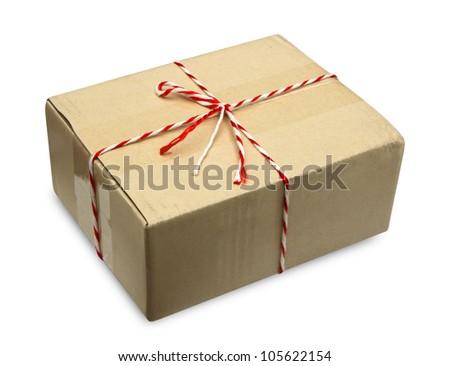 Close brown paper box on white - stock photo