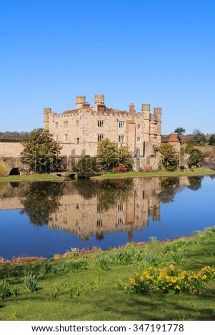 Close-cropped view of Leeds Castle from across moat. - stock photo