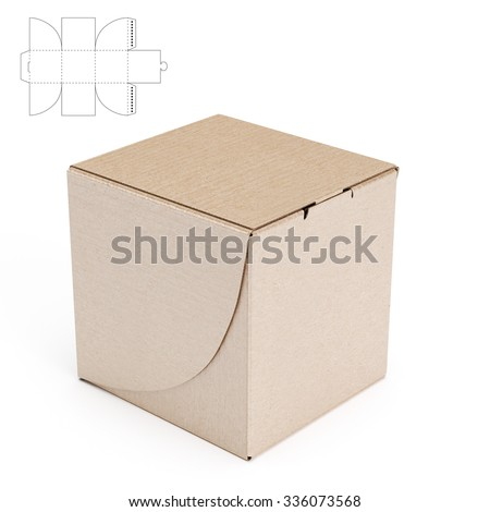 Empty Cube Box Die Cut Template Stock Illustration
