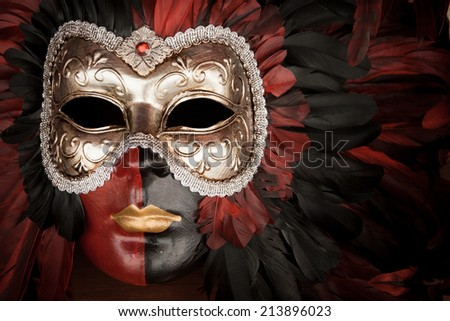 Close detail of a traditional mask as worn at the famous Carnival in Venice, Italy.