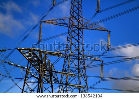 close detailed shot of pylons in the UK - stock photo