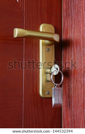 Close door with key. Real estate.