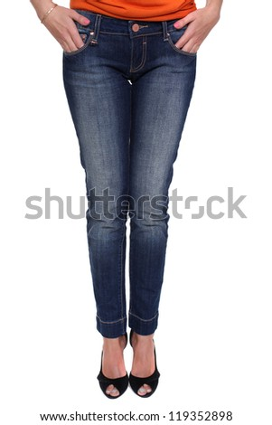 Close female blue jeans - stock photo