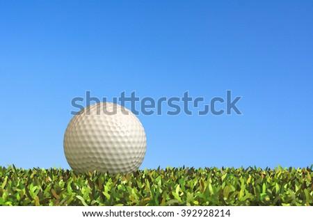 Close-golf on grass 3d rendering. - stock photo
