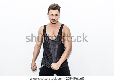 Close Image Of Muscle Men Posing - stock photo