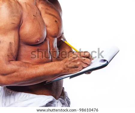 Close image of sexy worker with blank page