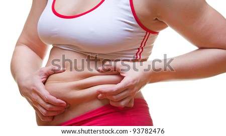 Close image of stomach with excess weight