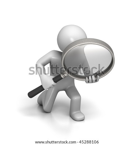 Close Inspection with Magnifying Glass (isolated on White Background) - stock photo