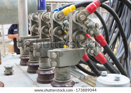 close low voltage junction transformer - stock photo