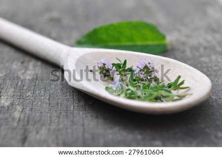 close on flowers thyme in a wooden spoon on a plank - stock photo