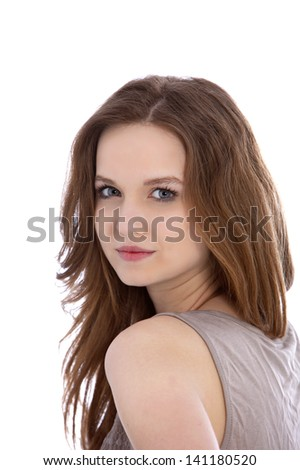 Close portrait of Young brunette woman with a beautiful face