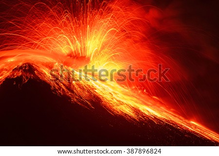 Close Range Long Exposure Of Tungurahua Volcano Night Shot