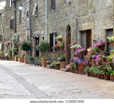 close road scene in Sovana, Tuscany Italy - stock photo