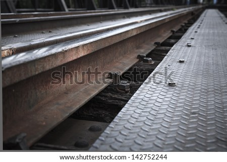 Close-screw on top of the rails.
